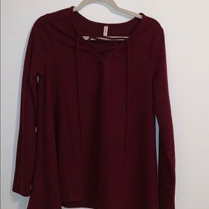 NWOT MAROON LACE UP SWEATER